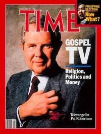 Pat Robertson (700 Club) doing the 33rd degree Freemason Li on Paw grip and or hand side on front page of time magazine while contending for the Seat of Power for the American Presidency