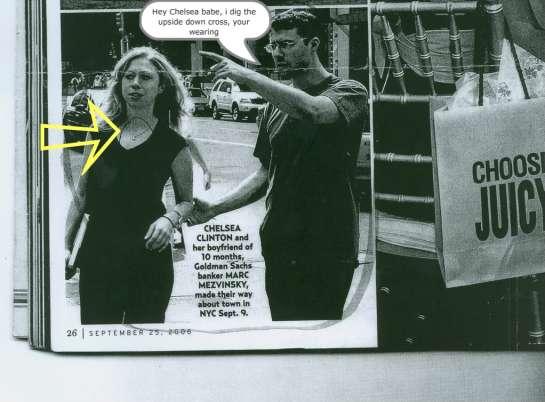 Chelsea Clinton wearing an upside cross announcing her self as an Antichrist (1 John 4:3)