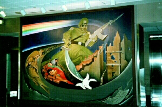 Denver International Airport Mural established in 1993 known as the Year of the Yod notice the image of the beast refer to Revelation 13:8  ready to make war with the Lamb of Father God Almighty JESUS The Alpha and The Omega (Revelation 17:8-14)