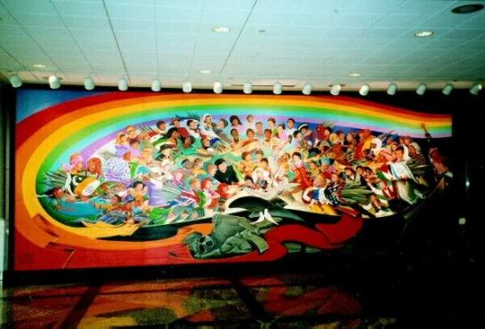 Mural located at the Denver international Airport established in 1993 known as the Year of the Yod godhead: notice the beast godhead of Yod lying under the ground on a red carpet as the Egyptian Scarab known as the sun god Rah - and or as Jewish Shaharit morning star god is capturing the world peoples into his New World Order 1776 concept and doctrine notice the Jewish flag is linked to the Palestine flag like the American to the Russian flag etc but notice the new Yod 1994 South African flag displayed in this Yod Year 1993 Mural the fulfillment of Revelation 13;8 And all that dwell upon the earth which includes the weak wavering faith Church or Bride shall worship the NASA Masonic Jewish - Egyptian beast and or god head of Yod