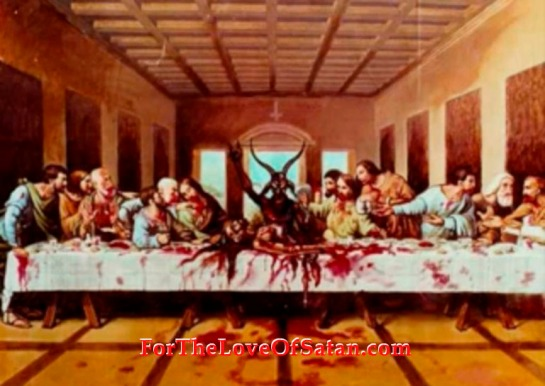The Goat Baphomet - Luciferian last supper horns for yod symbol notice the upside cross type yod symbol above images head and horns Refer to Contemporary Freemasonry in the counterfeit Holy Land  Esau Israel http://web.mit.edu/dryfoo/www/Masonry/Reports/israel.html