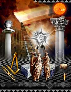 "G within Stargod emphasizing to Yod notice the red planet Mars a top of pillar known Jachin and the world on top of the other pillar Boaz  refer to 1 Kings 7:21 (7+7+7 = 21) United Nations Street Address. Bear in mind the American and the British Lodges subsitute the Jewish/Hebrew term of Yod with the letter ""G"" like the french substitute the term Yod known as the 10th letter of the Jewish/Hebrew alphabet  with the eye opening term of Die U"