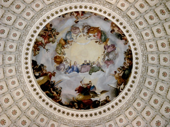 The Yod - Apotheosis of George Washington hidden in the high ceiling of the Rotunda Building since 1865 as their secret agenda of the rule of Antichrist (1 John 4:3 - 1 John 2:18)