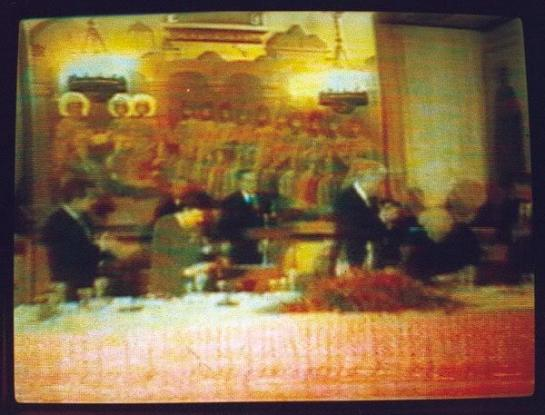 Pay attention to the picture above USA (Magog) President GHW Bush and USSR (Gog) President Yeltsin celebrate with their wives the end to the Cold War in the Ukraine simply notice the mural - painting elevated in the background  of the 10 Kings and or 10 United Nations - 10 sons of Jacob observing as the two Antichrist Shaharit and or two Son god Rah who are handing the world over to the King of Babylon known as the Antichrist refer to Daniel 7:23-24 and or Zechariah 8:23 note from Y2K - Yod 2000 after the 25th of December Solar Eclipse of the sun and the moon on X Mass Day the United Nations became 13 Nations from after G7 (Yod 7) Bill Clinton handed the reins over to 43rd President of the USA GW Bush also known as the G8 (Yod 8) leader of the questionable United Nations   Refer to Contemporary Freemasonry in the counterfeit Holy Land  Esau Israel http://web.mit.edu/dryfoo/www/Masonry/Reports/israel.html