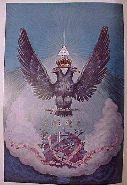 Upright Pyramid which houses the symbol of Yod within elevated above the two headed 33rd degree Mythical Bird (Eagle)