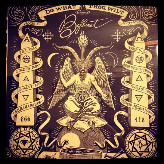 Image of the Goat Baphomet and his microchip under the skin numbered 666