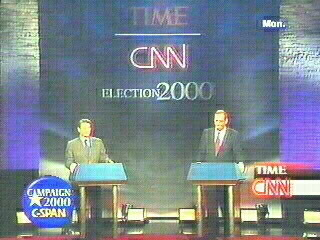 Notice the beast image behind candidates of Democratic party members of Al Gore etc during Y2K - Yod 2000 Presidential election