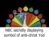 NBC - MSNBC - CNBC (CNN) television broadcasting logo undoubtedly advertisers the mynute symbol of Yod  above its Antichrist white bodied Peacock  and its questionable antichrist 6 colored 7 Noahide laws of Noah rainbow tail feathers