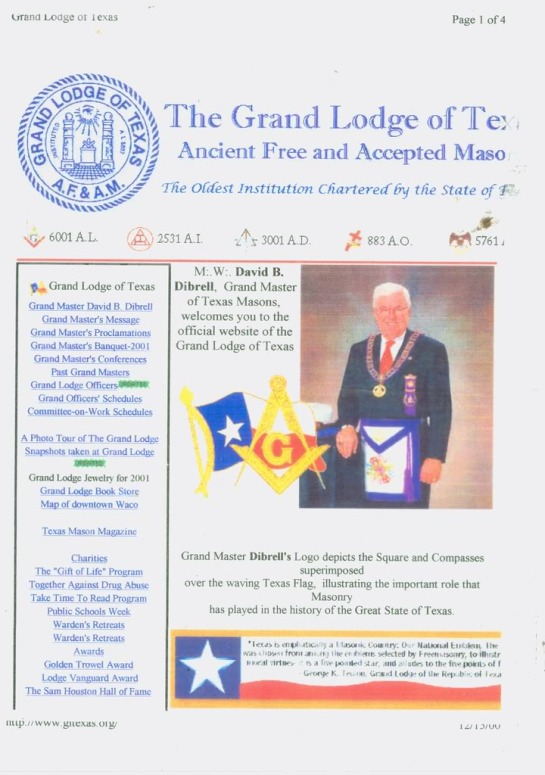 "GW Bush Grand Lodge of Luciferian/George Washington Yod Let there be Light Texas in 2003 the Year of the Serpent god called Ouroboros/Luicfer- Pharaoh secretly known as the Year of Olam Ha Ba Messianci age. Notice what Year the Texas Lodge is travelling in but the yaer of AD 3001 = AD 3015. Notice GW Bush Grand Lodge of Luciferian/George Washington Texas State, which is travelling under the umbrella of ""Yod"" which in turn or relates to Fait (Fiat) Lux Day, which means secretly ""Let there be Shaharit/Luciferian Light, from Texas to the 4 corners of the earth. Unknown i a very secret manner this Fiat Lux Days occurred on the 14th to the 16th of November 2003. Needless to say, 2003 also unknown to many peoples the world over, became known secretly, as being the year of Olam Ha Ba Messianic Age, Uknown once again, there was and still a very darkside to the above Olam Ha Ba Jewish Mesianic age, which indirectly symbolizes to the detrimental Year of the Serpent god called Ouroboros/Lucifer- Pharaoh. But here comes the nail that seals Texas Masonic coffin, simply pay attention to the above Year dates displayed by the Grand Lodge of Texas, What becomes very interesting about these year dates The State of Texas is travelling under well disguised banner of the year of AD 3001 and or to date AD 3015, simply meaning that they are deliberately traveliing a 1,000 years ahead of regular calendar year date of AD 2001 (AD 3001) or AD 2015 (AD 3015) why?"