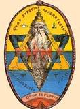 Graven Image of the Microprospsos/Macroprosposos the god of light and reflections meaning George Washington/Lucifer as the Yod godhead - Jewish Star of David also known as the King Solomon Quarries seal of the 28th degree of the Knight of the Sun symbol - The Apotheosis of George Washington/Lucifer from 1865.