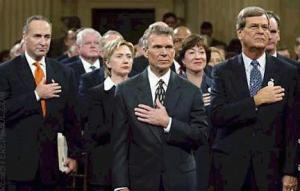 Here comes the major question to be asked was it a coincidence or fact, that Senator Tom Dascle deliberately pledges allegiance, with left hand to right breast, obviously simplifying to George Washington/Lucifer heart being on the right side. Which allowed him Tom Dascle, to pay tribute to the 2001 September the 11th catastrophe. Unknown during this ceremony Tom Dascle, boldly chanted thrice to the term E Pluribus Unum, we have to ask why? In other words, this left to right breast hand signal, symbolized to the mere fact, that the Most Worshipful Master of the Universe George Washington heart was on the right side and not the left, secondly Tom Dascle was also recognizing him George Washington as their Masonic Christ is now here, known by their secret guru/icon title of E Pluribus Unum. Needless to say George Washington is scripturally known as the new age Tittle (Matthew 5:18) the Man of sin - the Antichrist. Recall in 1754, George Washington was shot 4 times on the left side (normal position of heart area) and never died or sustained any wounds or injuries etc, which included falling off two of his horses with no injuries. The major eye opener to the above, is that George Washington military uniform, had 4 bullet marks to the heart area meaning left side, which is on display in his GW Alexandria Lodge # 22 Virginia, mind boggling but fact, simply refer to Contemporary Freemasonry in the counterfeit Holy Land Esau Israel http://web.mit.edu/dryfoo/www/Masonry/Reports/israel.html