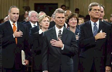 Was it a coincidence or fact that Senator Tom Dascle deliberately pledges allegiance, with left hand to right breast, simplifying to George Washington/Lucifer heart being on the right side. Which allowed him Tom Dascle, to pay tribute to the 2001 September the 11th catastrophe. Unknown during this ceremony Tom Dascle, boldly chanted thrice to the term E Pluribus Unum why? In other words, this left to right breast hand signal, symbolized to the mere fact, that the Most Worshipful Master of the Universe George Washington heart was on the right side and not the left, secondly Tom Dascle was also recognizing him George Washington as their Christ is now here, known by their secret guru/icon title of E Pluribus Unum. Needless to say George Washington is scripturally known as the new age Tittle (Matthew 5:18) the Man of sin - the Antichrist. Recall in 1754, George Washington was shot 4 times on the left side (normal position of heart area) and never died or sustained any wounds or injuries etc, which included falling off two of his horses with no injuries. The major eye opener to the above, is that George Washington military uniform, had 4 bullet marks to the heart area meaning left side, which is on display in his GW Alexandria Lodge # 22 Virginia, mind boggling but fact, simply refer to Contemporary Freemasonry in the counterfeit Holy Land Esau Israel http://web.mit.edu/dryfoo/www/Masonry/Reports/israel.html