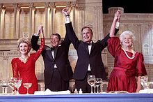 Presidents GHW Bush and Ronald Reagan wives dressed in red promoting the Red Heifer born in 1993 - Red hairy one Esau the counterfeit Israel (Malachi 1:1-3)