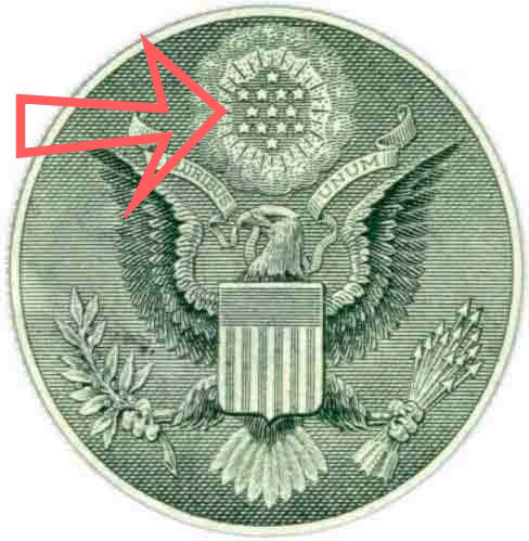 "What in the name of hell is the Jewish Star of David doing on the bach side of the graven image In God We Trust $1 BILL. Notice the 13 (13 Principalies of faith) six pointed stars, that form the Jewish Star of David in a inverted and upright state and and undoubtedly represents The King Solomon Quarries seal, known as the 28th Degree Knight of the Sun symbol, secretly known as the Microprosposos/Macroprosposos, which is cleverly, yet secretly implementing honor and glory to the god of light and reflections. This came about after the spirits of Lucifer/George Washington were risen to its glory from the bottomless pit (Revelation 17:8), by the NASA Masonic Conspiracy plan of Antichrist (1 John 2:18) on and from 1966 to 1969. Pay attention this Antichrist movement as a rule of law, was known from the 10th of March 1865, as The Apotheosis of George Washington/Lucifer, which is secretly disguised as being the Jewish Yod - Star of David Godhead title and or as the Egyptian Illuminati Annuit Coeptis (E Pluribus Unum), and or as the French ""Die U"" Godhead title symbol."