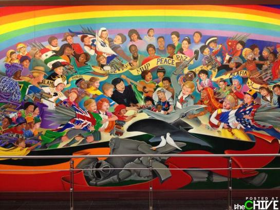 """Pay Attention to the green """"Y"""" resembling the term of Antichrist Yod (Matthew 5:18 jot equals unto Yod like tittle equals unto antichrist), symbol, found within the Mural of the detrimental Antichrist Denver Colorado International Airport mural in 1993. Unrealized 1993, was secretly known as the Year of the Yod, remembering that the nation of South Africa only received, this new age national flag a year later in 1994, which was after the nation of South Africa, was secretly converted, to a Jewish Luciferian/George Washington State. Which then allowed the New World Order conspirators, to place this detrimental sign of the Yod flag of Yod, in its ungodly, yet antichrist mural from 1993. In other words this pre-arranged antichrist Yod flag, was designed, for the nation of South African, from the time of its conversion, which was on the 11th of September 1992, undoubtedly it was designed from 1989 known as the declaration of Public 102-14 - known as the 7 Noahide Laws of Noah, which was based upon Jewish Fables (Public Law 10-14) and the Commandments of men. In other words these Commanmdnets of men, known as the detrimental 613 Jewish Torah Commandments, note chapter 4 is titled from 1953 as Reincarnation. This was obviously, well orchestrated by 41st President of the USA - UN thousand points of light President, namely GHW Bush and both houses of US Masonic Congress, which allowed for it The Yod South African Flag, to be displayed, in the 1993 New World Order Yod Antichrist Zionist Shadow Government mural, which once again was based in the questionable Denver Colorado International Airport mural,emphasizing the rise of Beast (Revelation 17:8) from the bottomless pit. Notice how the Antichrist, the man of sin protrayed as the sun god Ra is capturing the world peoples into his NWO web, which was secretly, yet well ordained in 1993, by President Bill Clinton, the Queen of England and the late Roman Catholic Pope John Paul the 2nd, unknown or unrealized to due to abombardme"""