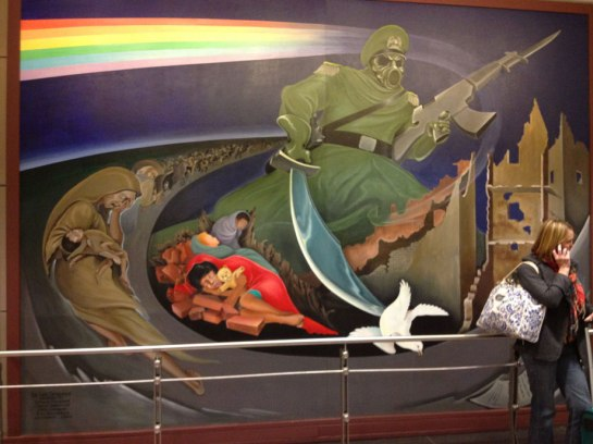 Denver Colorado International Airport mural,displays from 1993, the start to the Year of the Yod - Annuit Coeptis, the NASA Masonic conspiracy Beast Annuit Coeptis - Yod godhead rise, from the bottomless pit, ready to led the world peoples, into the sin of Luciferian perdition (Revelation 17:8)