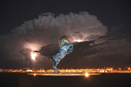 the graven image of Blucifer erected outside the Denver Colorado International  Airport September the 14th, 2013